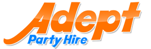 Logo for Adept Party Hire in Brisbane